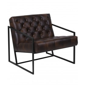 Keane Tufted Leather Chair w/ Metal Frame