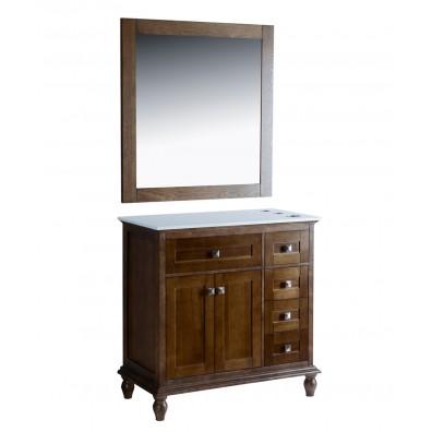"""Madison 42"""" Walnut Vanity Styling Station & Mirror"""