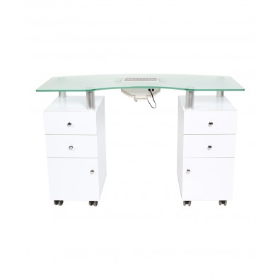 J&A Glass Top Manicure Table w/ Draft Vent