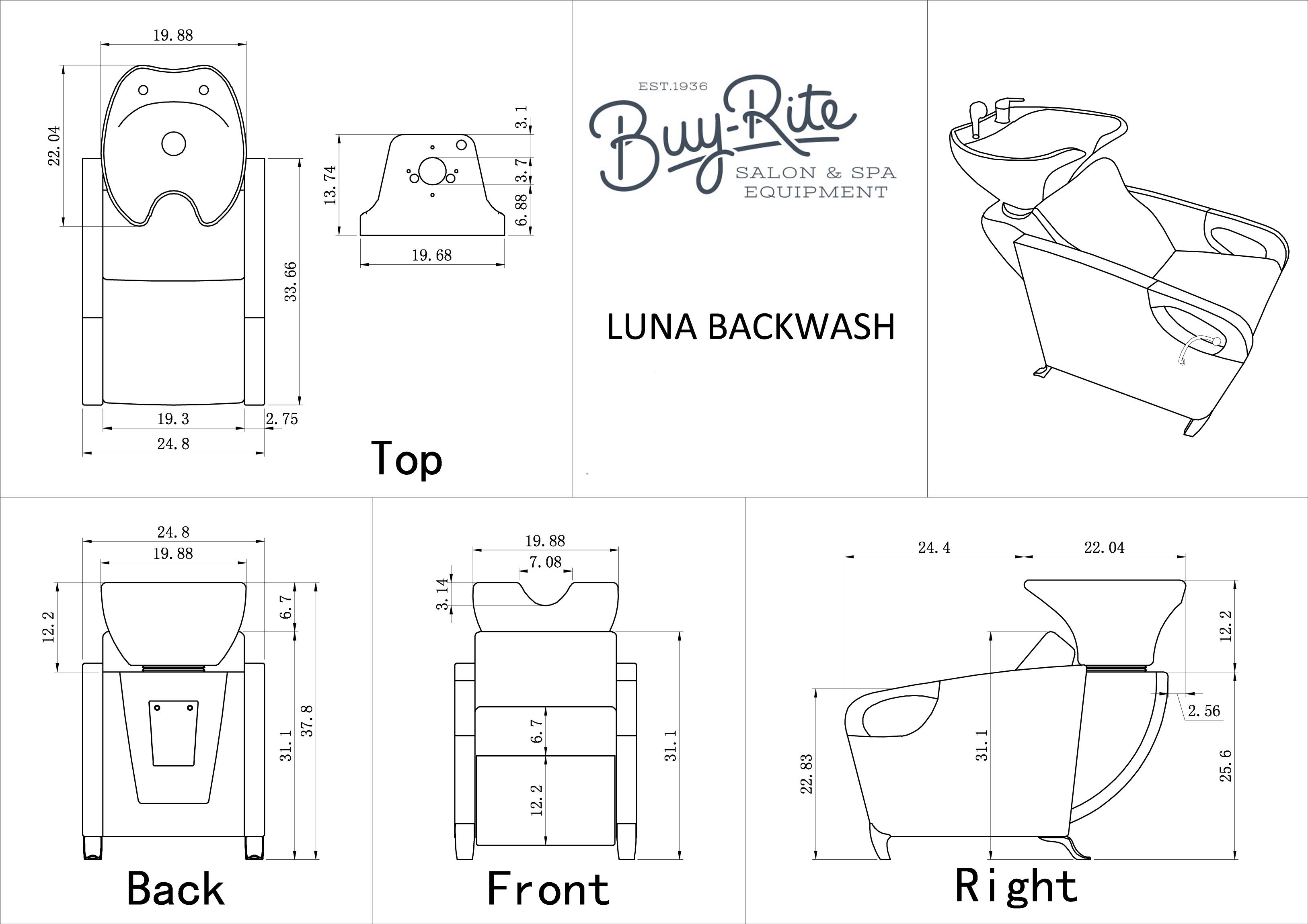 Luna Salon Shampoo Backwash Unit Amp Bowl Buy Rite Beauty
