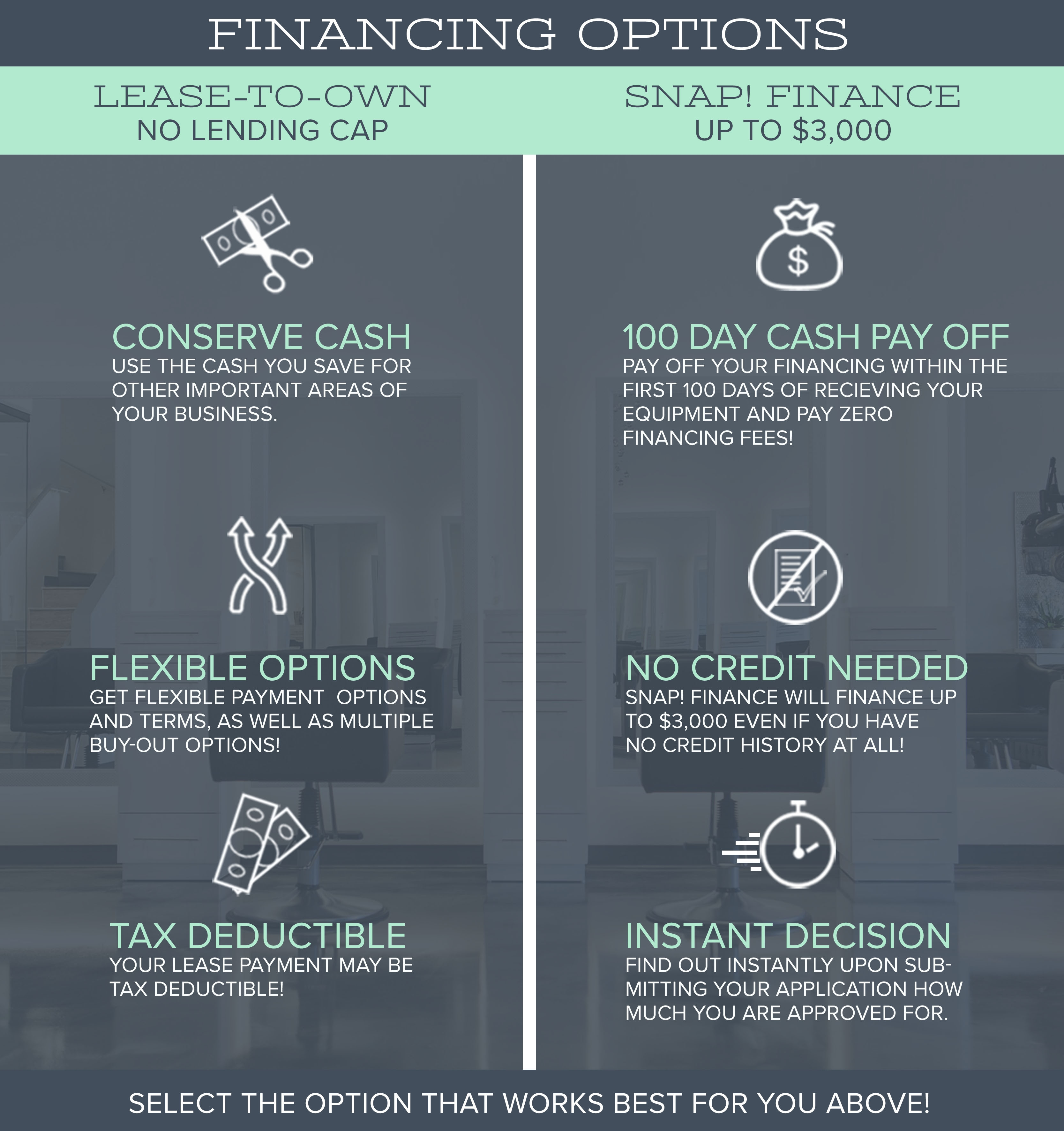Snap Finance Bad Credit No Credit Needed Financing Up To >> Salon Equipment Financing Finance Salon Spa Barber Equipment